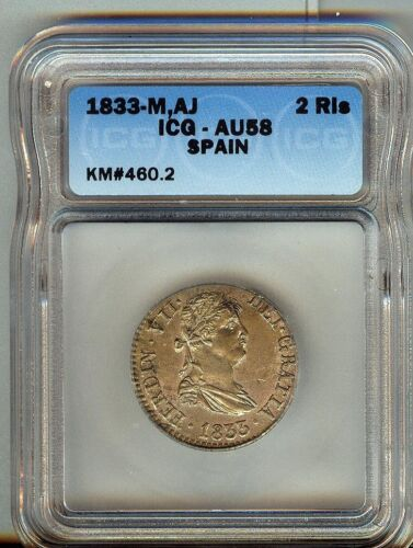 1833-M SPAIN 2 REALES  KM#460.2 CH AU Silver Plated As Made ICG AU58