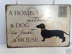 Details about Vintage Style Distressed Metal Hanging Plaque 'A HOME WITHOUT  A CAT/DOG IS