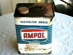 A-Vintage-50-60-039-s-1-Gallon-Ampol-Embossed-Logo-Capped-Gear-Lube-Oil-Tin