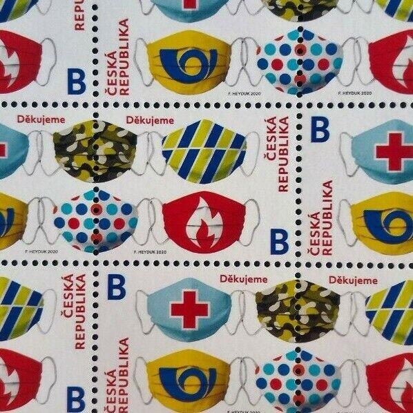 Czech Republic facemasks pandemic MNH stamp 2020