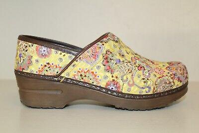 37 Yellow Red Paisley Textured Danish Fancy Colours Women's Shoes Glorious Sanita Womens Clog Shoes Size 6.5