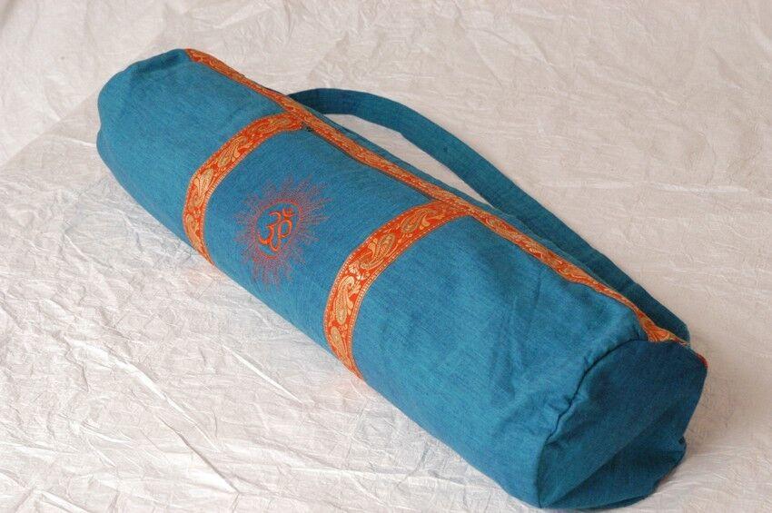 Handgenähte Yogatasche aus Indien in türkis blau    Spielzeug mit kindlichen Herzen herstellen