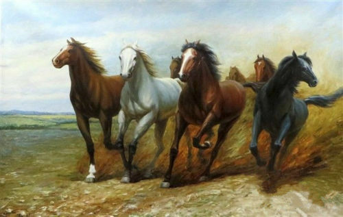 LMOP118 high quality hand-painted animal horses OIL PAINTING CANVAS  ART