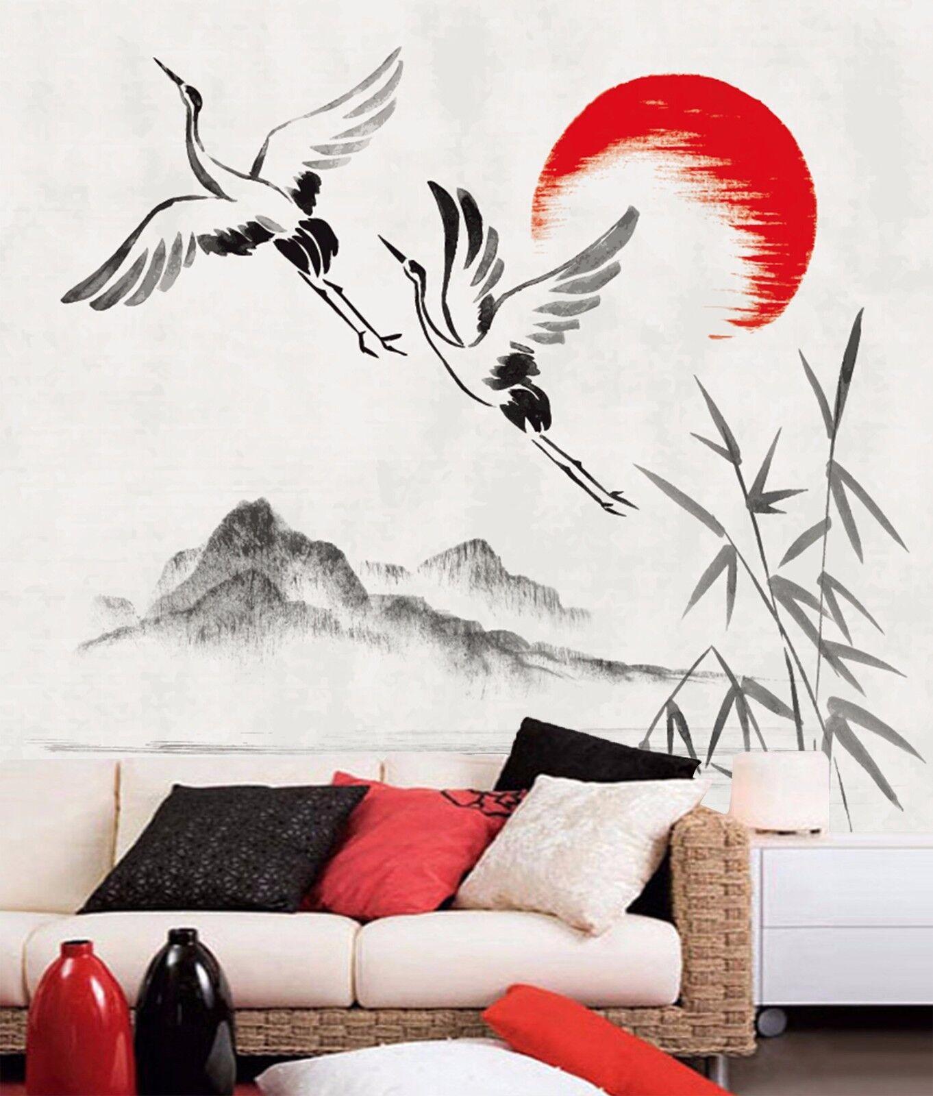 3D White Crane Draw 78 Wall Paper Murals Wall Print Wall Wallpaper Mural AU Kyra