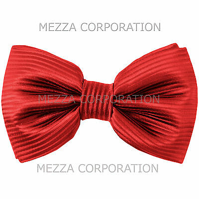 New formal men/'s pre tied Bow tie stripes formal wedding party prom red