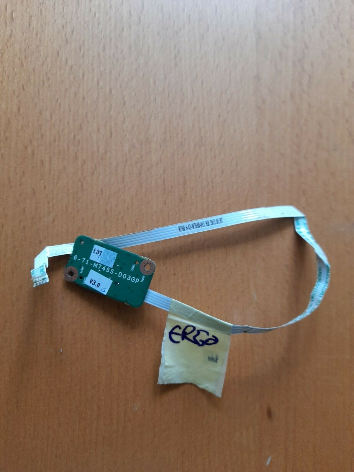 Ergo Clevo W76C Laptop Power Button Board & Ribbon Cable