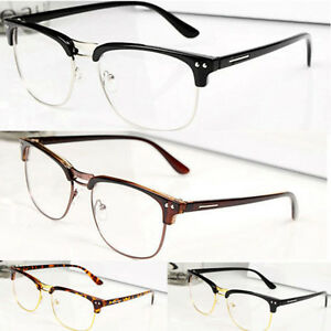 Fashion-Hipster-Vintage-Retro-Classic-Half-frame-glasses-Clear-Lens-Nerd-Eyewear