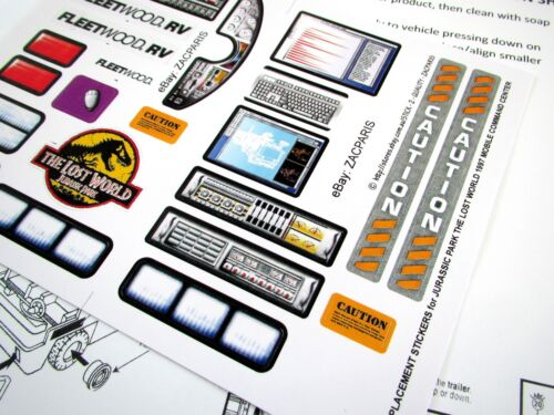 Replacement stickers for Kenner JURASSIC PARK Lost world MOBILE COMMAND CENTER