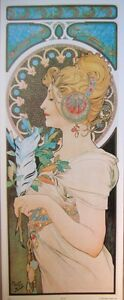 art-print-THE-PEN-Alphonse-Mucha-tall-lady-nouveau-deco-feather-vtg-repro-12x29