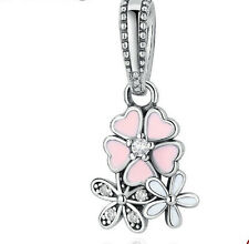 925 Silver three flowers Charm Beads Fit European Bracelet Pendant Chain as3