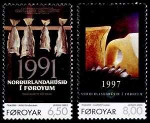 Faroe-Islands-2003-Europa-Poster-Art-Fish-Tree-amp-Ceramic-Stoneware-UNM-MNH