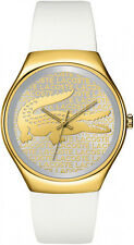 LACOSTE WOMEN'S WHITE SILICONE AND YELLOW GOLD TONE GLITZ GATOR WATCH * 2000807