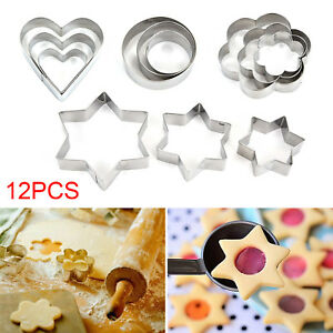 12-Metal-Biscuit-Star-Cookie-Cutters-Set-Cake-Mould-Sugarpaste-Decorating-Pastry