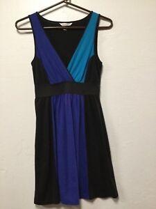 Womens-Faux-Wrap-Dress-Size-Small-Black-Blue-Empire-Waist-Speechless-93