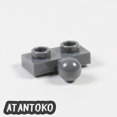 Lego 2 Dark Bluish Gray 1x2 plate with side towball hitch NEW