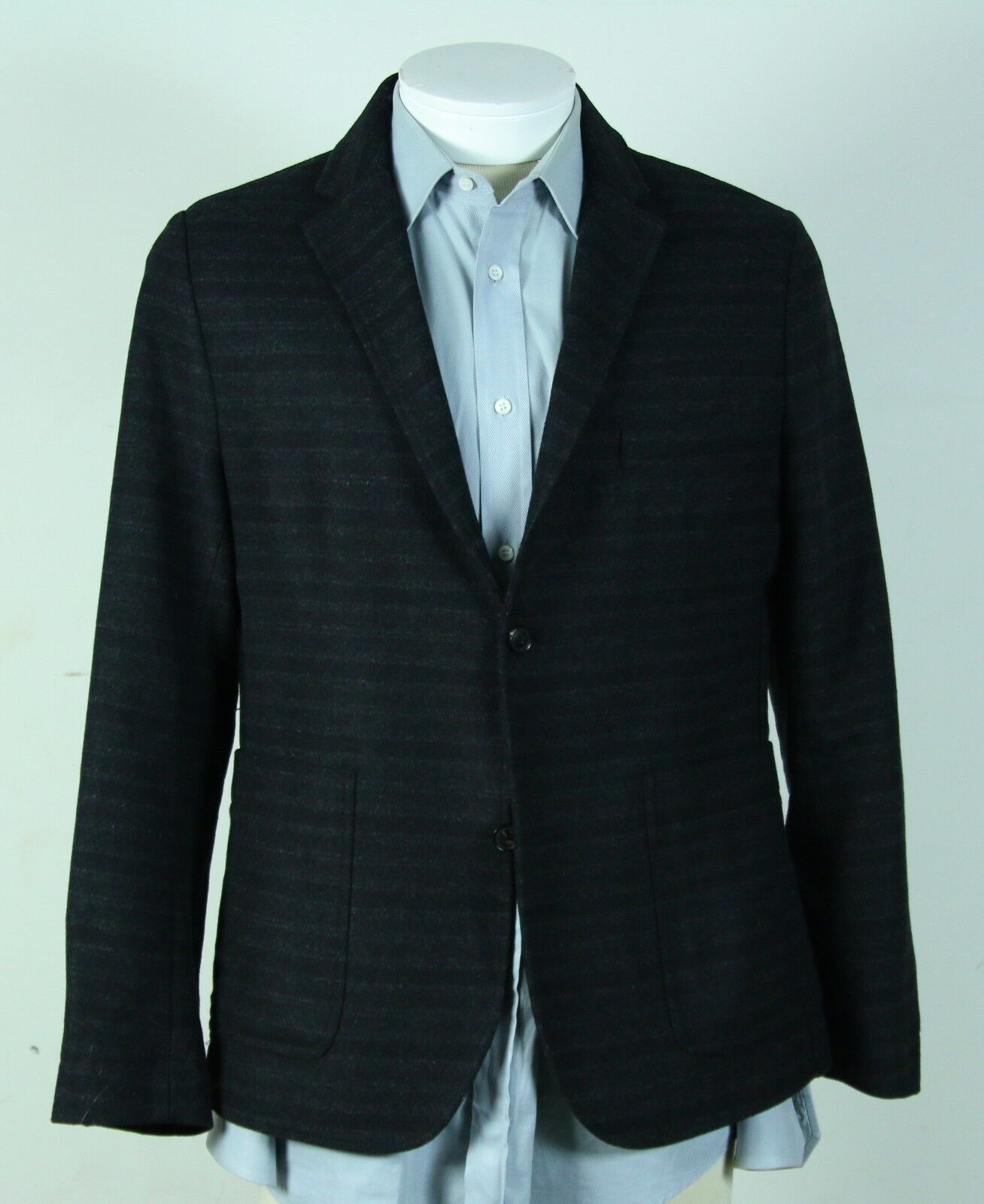 MINT UNIQUE WINGS + HORNS WOOL SPORT COAT BLAZER M grau TONAL HORIZONTAL STRIPES