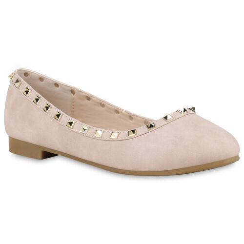Damen Abiball Klassische Ballerinas Nieten Hochzeit Party Schuhe 820501 Trendy