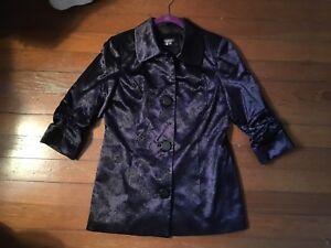 Anthracite By Muse Purple Paisley Jacket Coat Blazer 3/4