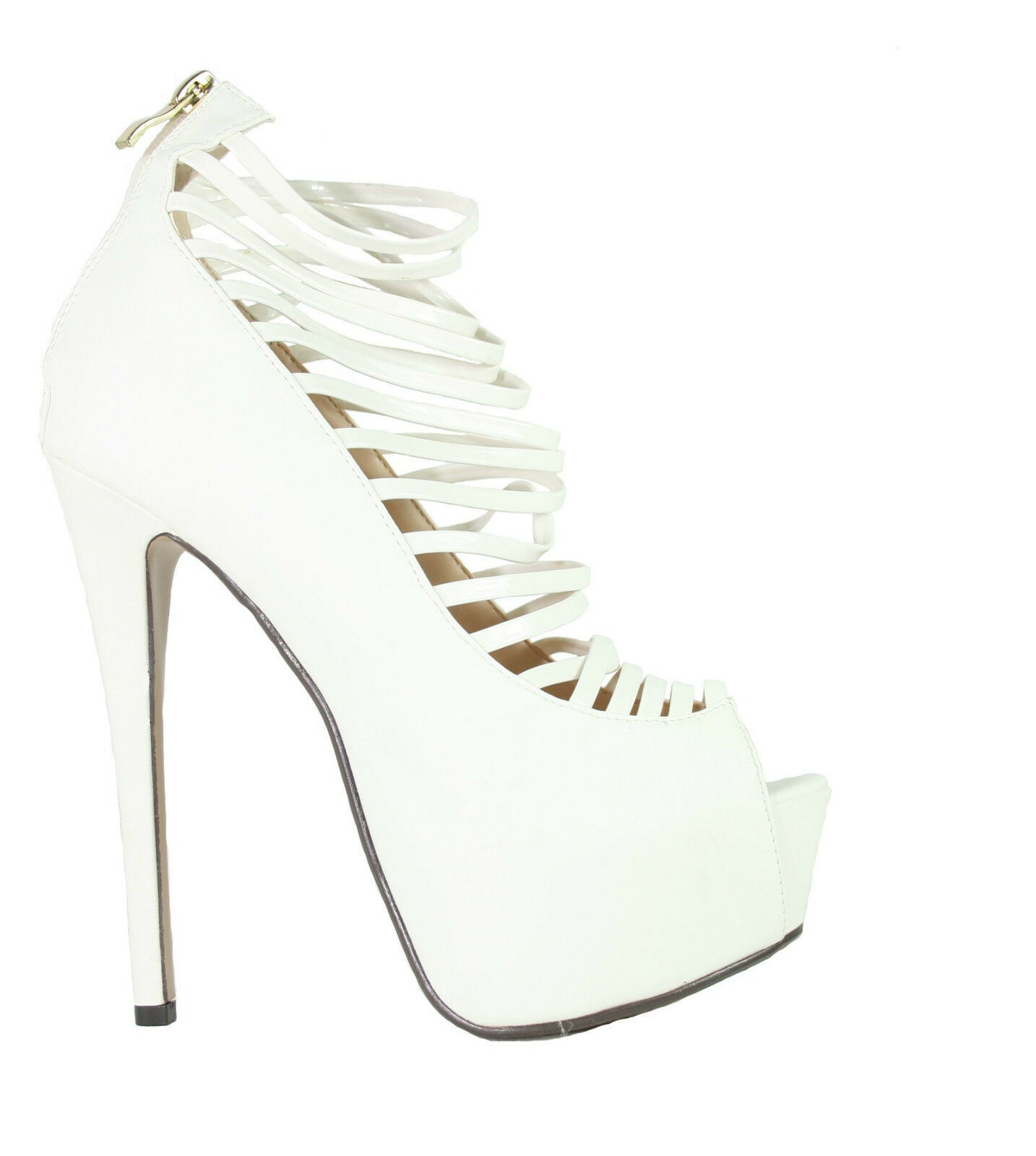 Sexy High Heel Sandalette mit Riemchen Stiletto Absatz Peeptoe weiss 10417 Neu