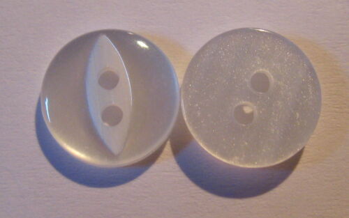 B66 12 x WHITE Flat Back 2 Hole Plastic Buttons approx 11mm Wide