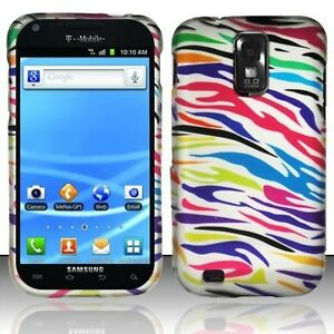 For-T-Mobile-Samsung-Galaxy-S-II-2-HARD-Case-Phone-Cover-Silver-Rainbow-Zebra