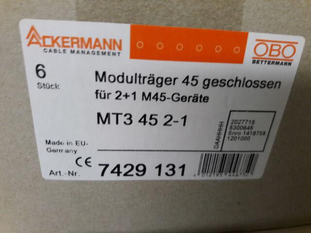 OBO Bettermann Modulträger 45, Steckdose 33 Grad, Leerplatzabdeckung Set