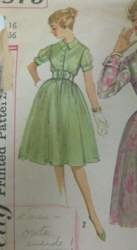 Vintage 50's Simplicity 2879 SETIN SLEEVES DRESS Sewing Pattern Women Size 16