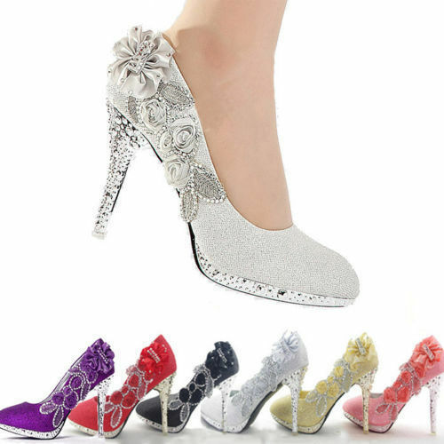 Woman Glitter Crystal Wedding Evening Party High Heels Shoes Bridesmaid Party Evening UK 92e986