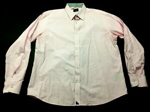 Untuckit-Mens-Pink-Long-Sleeve-Button-Front-Shirt-Size-XL