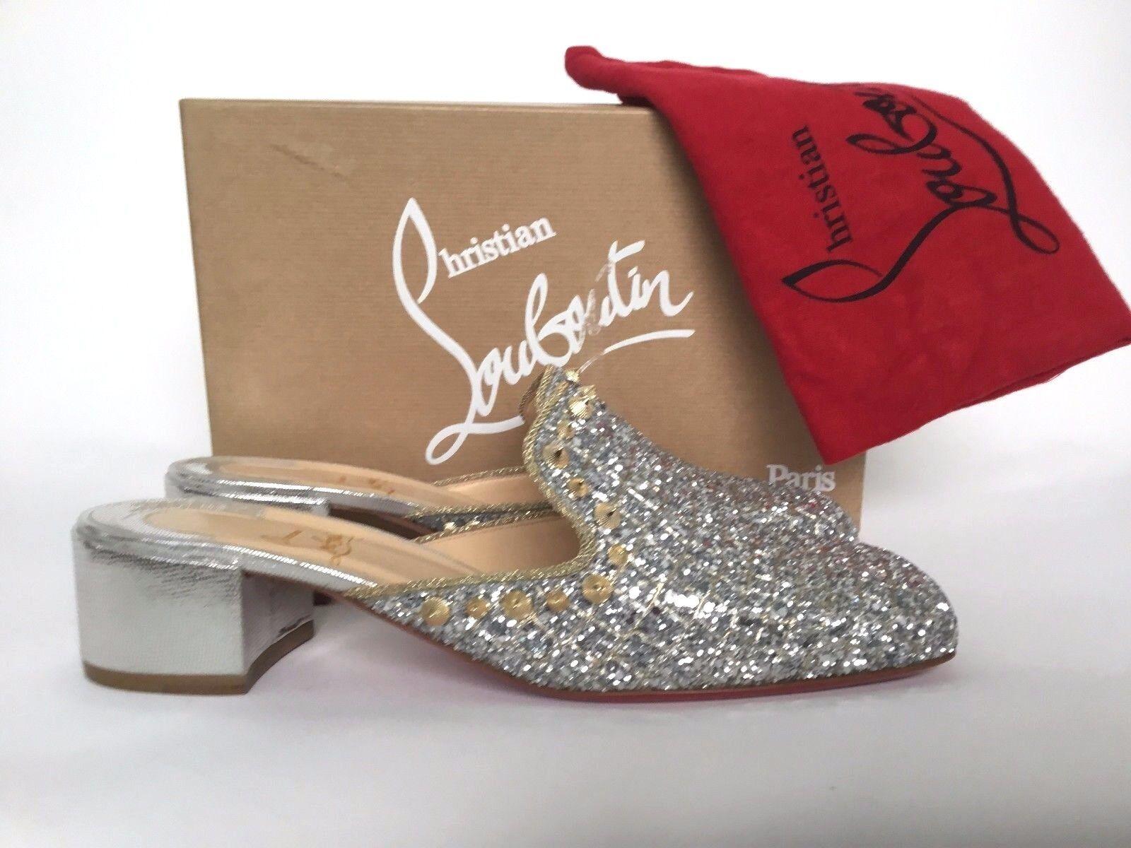 Christian Louboutin Spiky Sun 35 Silber Glitter Mule Loafer 41  11