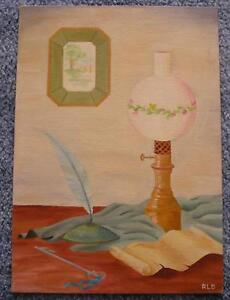 VINTAGE GONE WITH THE WIND LAMP LIGHT FEATHER QUILL PEN KEY STILL LIFE PAINTING