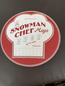 Set-of-4-Williams-Sonoma-Snowman-Chef-Mugs-In-Round-Gift-Box-w-Lid-Ceramic-New