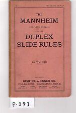 K&E Mannheim,Duplex Slide Rule Manual,sliderule, 1891, VG cond, free ship (P391)