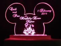Personalized Disney Themed Wedding Cake Topper Mouse Ears & Castle Opt Led Light