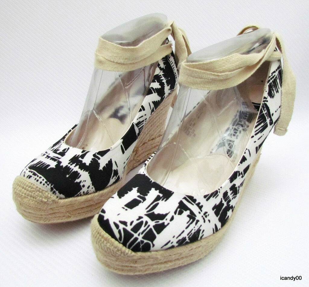 Boutique 9 MARCELLO Espadrille Espadrille Espadrille Wedge Platform Sandal Pump White Black 7.5 New 9d1b34