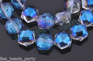 10pcs-12mm-Hexagon-Faceted-Crystal-Glass-Findings-Loose-Beads-Blue-Colorized