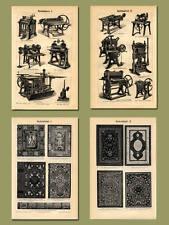 Buchbinderei Bucheinbände Presse Druck 4 Originale Stahlstiche & Text Txz M5