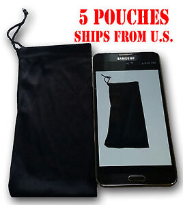 QTY-5-Cell-Phone-Case-Cover-Pouch-Bag-Sleeve-Black-Soft-Cloth-FITS-MOST-PHONES