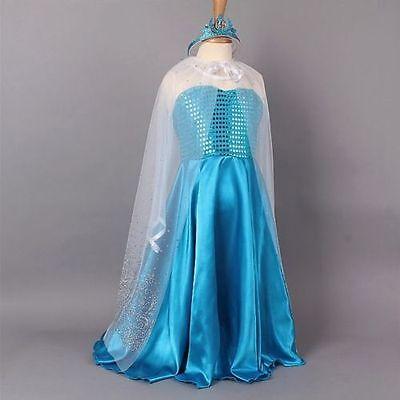 New Girls Frozen Queen Elsa Birthday Costume Dress