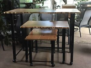 Image Is Loading Nesting Tables Set Of 3 Light Wood And