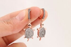 Turkish-Jewelry-Turtle-Shape-Round-Topaz-Rose-Gold-925-Sterling-Silver-Earrings