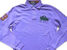 New Ralph Lauren Polo 100% Cotton Dual Match Pony Long Sleeve Purple Shirt S