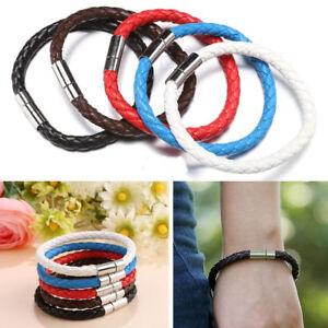 Unisex-Women-Men-Braided-Leather-Steel-Magnetic-Clasp-Bracelet-Handmade