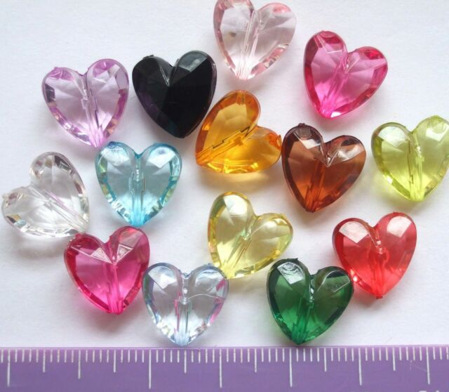 50 or 60 acrylic / plastic faceted heart shape beads 12mm choose colour A56