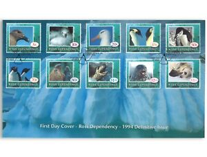 Ross-Dependency-1994-Antarctic-Birds-amp-Animals-10-Stamp-Set-First-Day-Cover-FDC