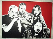 Canvas Painting Foo Fighters Band Red B&W Art 16x12 inch Acrylic