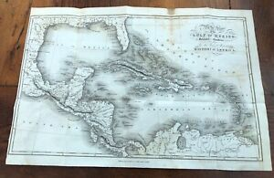 Details about 1821 map of the gulf of mexico with islands. dr robertsons  history of america