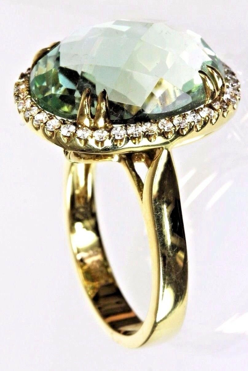 Green Amethyst Ring with Diamonds in14k Yellow gold , Dia. 0.35cts.,GA 12.3cts.