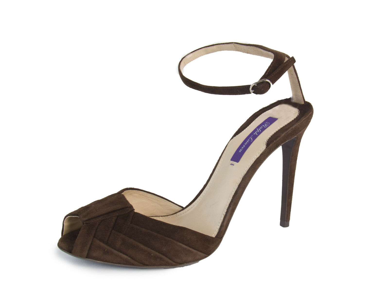 RALPH LAUREN Purple Label Dark Brown Suede Ankle Strap Pumps Sz 9.5 NEW