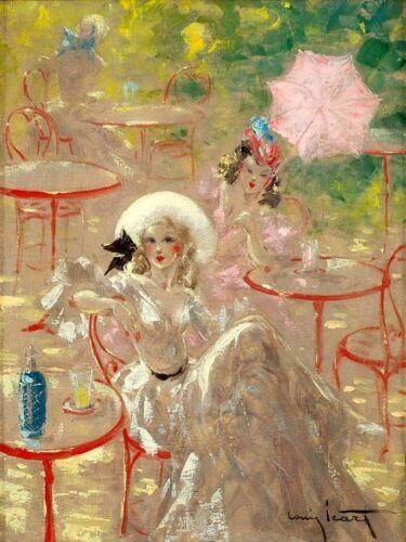 Icart Fashion Ladies Bar Restaurant Pink Umbrella Art Reproduction FREE SHIPPING